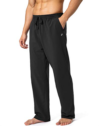 Pudolla Men's Cotton Yoga Sweatpants Athletic Lounge Pants Open Bottom Casual Jersey Pants for Men with Pockets (Black X-Large)