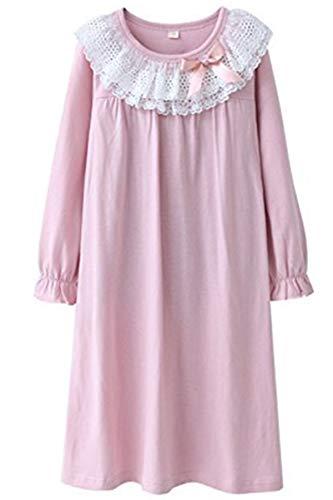 HOYMN Nachthemden für Mädchen Spitze Nachthemd für Herbst-Winter 100% Baumwolle 3-13 Jahre (5-6 Jahre, Rosa)