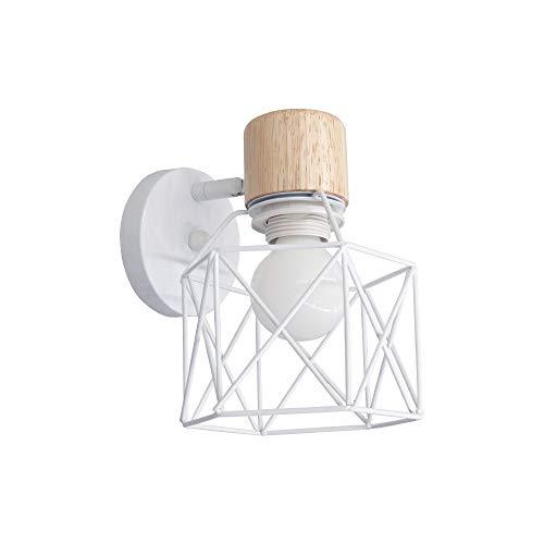 Lámpara de pared blanca de metal BYX con soporte de madera, luz de montaje en pared giratoria con forma de geometría para leer el fondo de la televisión del dormitorio (bombilla 6000k incluida)