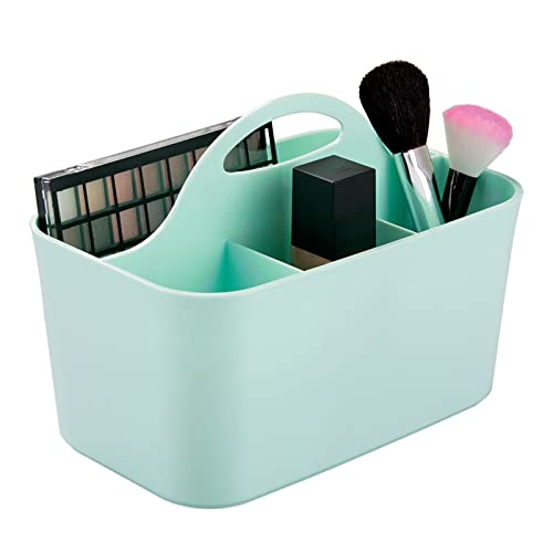 mDesign Porta trucchi e porta pennelli per bagno – Ottimo portatrucchi per il bagno e la postazione trucco Organizer in plastica e con manico per il trasporto – verde menta