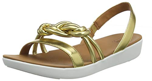 FitFlop Swirl Knot Jasmin Sandal, Sandalias de Punta Descubierta para Mujer, Dorado (Artisan Gold 667), 38 EU