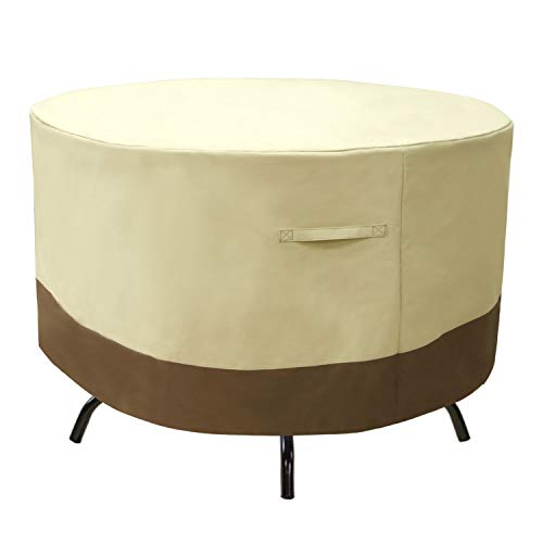 GYHH 600D Round Patio Furniture Covers Waterproof,Outdoor Table Chair Set Covers,Anti-Fading Patio Table Cover for Outdoor Furniture Set with Padded Handle (Beige+Brown,Ø213.5×66CM)