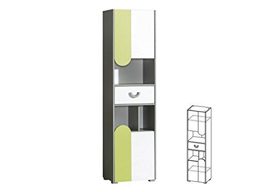 Schrank Hochschrank Regal mit Türen FUTURO Kinderzimmer Möbel Farbauswahl (weiß / graphite / grün)