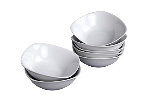 Klikel 8 White Round Soup Bowls - 5.5-inch (18oz) Classic Solid Coupe Style Porcelain Dinnerware | Large Bowl For Noodle Pasta Cereal Salad
