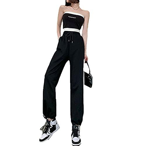 Pantalones de verano de pierna ancha para mujer, pantalones casuales a la moda, a rayas, pantalones largos, elásticos, cintura alta, pantalones deportivos