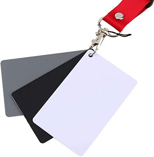 Oumij Tarjeta de Equilibrio 3 en 1 18% Gris/Blanco Juego de Tarjetas de Balance de Color de Exposición de Fotografía Digital...