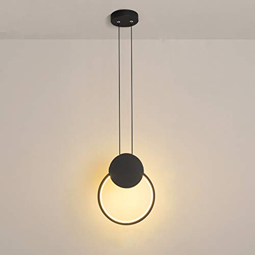 Temgin Lámpara Colgante de Aluminio LED Negro Redondo Lámpara de Techo Vintage 12W Altura Ajustable para Dormitorio Cocina Pasillo Sala Tres Colores