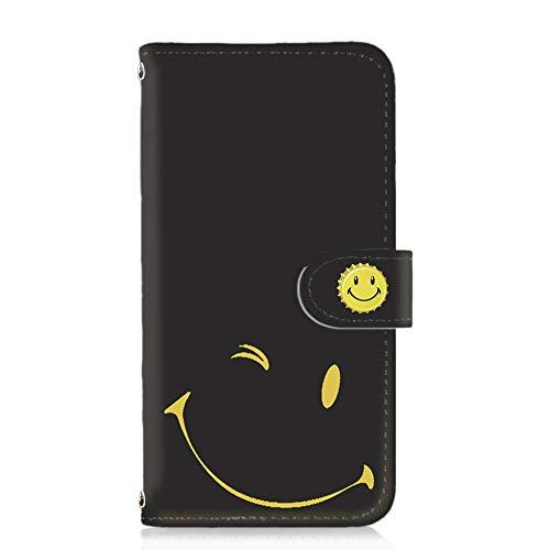 [FFANY] Galaxy Feel SC-04J 用 スマホケース 手帳型 カードタイプ [スマイル・黒地イエロー] smile 缶バッチロゴ ニコちゃん ウインク SAMSUNG サムスン ギャラクシー フィール docomo けーたいカバー カード収納 スタンド式 スマホカバー blacksmile 00z_081@01c