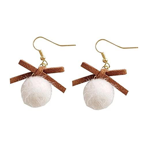 FEARRIN Pendientes Anillos de Moda para el oído Fancy Winter Autumn Design Bownknot con Warm Pompon Ball Earring para Mujer Hook