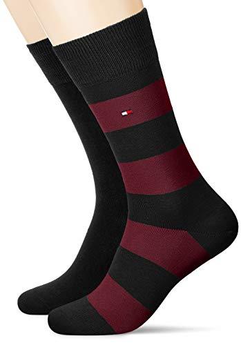 Tommy Hilfiger Mens Rugby Stripe Socken, 2er Pack, black combo, 39-42
