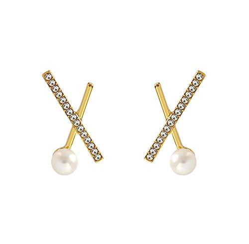 NA Earrings for Women Statement Earrings Imitation Pearl Earrings Women, 925 Silver Needles with Rhinestones Womens Jewelry