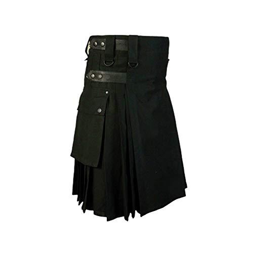 Mxssi Hommes Casual Écossais Kilts Mens Pantalon De Mode Cargo Personnalité Pantalon Plaids Modèle Lâche Demi Jupes