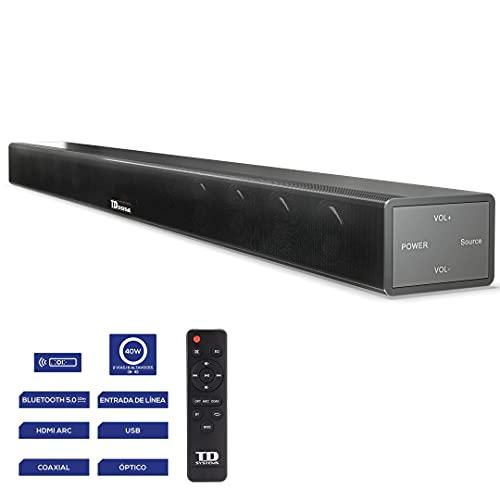 TD Systems SB40E11 - Barra de Sonido de 40W. Entrada Digital óptica, coaxial, HDMI, línea Jack 3.5, Bluetooth 5.0, y USB.