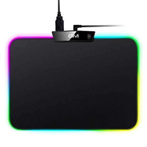 RGB LED Gaming Mouse Pad,GIM Small Lighted Mouse Pad Mat with 15 Lighting Modes, Non-Slip Rubber Base USB Computer Mousepad for Gamer, Office, and Home(13.8 x 9.8 x 0.2 Inch)
