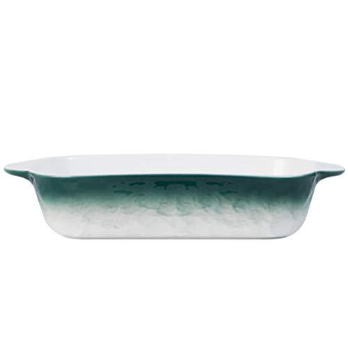 Cabilock Pirofila rettangolare in ceramica per sformati con doppia maniglia, per cucina, banchetti e uso quotidiano