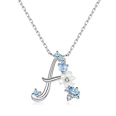 VIKI LYNN Letter A Initial Necklace 925 Sterling Silver Cubic Zirconia Personalized Gifts for Girls