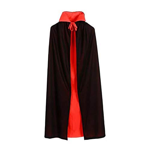 GAOU Capa de Halloween unisex reversible con cuello alto bruja vampiro disfraz de diablo de navidad negro/rojo, L-140cm/55.1¡±