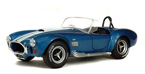 Solido S1850017 Cobra MKII 427 – 1:18 Modell 1965, Die-Cast, Metall, metallic blau mit weißen Zierstreifen und Chromteilen