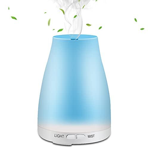 Feekass Diffusore di Olio Essenziale 200ml Cool Water Mist Ultrasonic Aromatherapy Humidifier, 7 Color LED Light, Air Freshener, Aroma Diffusore per Camera da Letto, Ufficio, Yoga