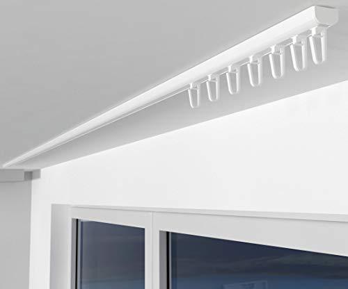 ALOHA Gardinenschiene aus Aluminium Vorhangschienen, Deckenbefestigung 1-läufig für Schiebevorhänge, Vorhänge (SAO / 1-läufig / 120cm / mit Faltenlegehaken / Weiß)