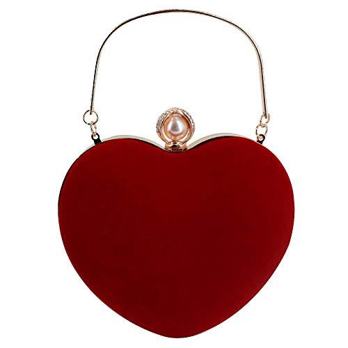 MEGAUK Herz Umhängetasche Heart-Shaped Handtasche Braut Kleid Kleine Abendtasche Elegant Schultertasche Henkel Clutch mit Zusatzkette für Prom Party Hochzeit (Rot)