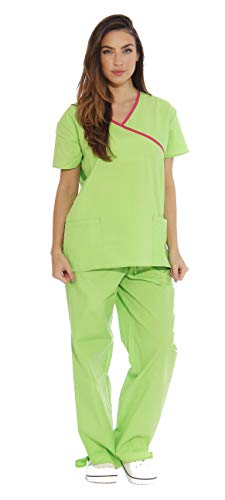 Just Love Women s Scrub Sets 5 Pocket Medical Scrubs Uniforms (Mock Wrap), Green Apple With Fuchsia Trim, Small