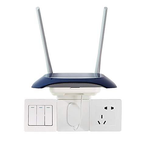 Enrutador Rack De Almacenamiento Soporte WiFi Inalámbrico Caja De Almacenamiento De Pared Rack Multifuncional Montado En La Pared (Color : Blanco, Size : 11.6 * 13.5 * 12cm)