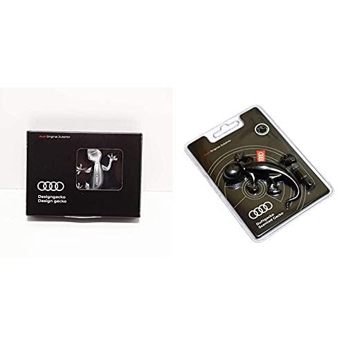 Audi Geco da Decorazione, Originale, Effetto Alluminio, Codice: 80A087000 & 000087009D Deodorante per Ambiente Originale A Forma di Geco, Colore: Nero
