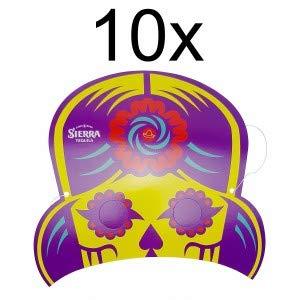 Sierra Tequila Papp Papier Maske Karneval Fasching - Lila 10er Set