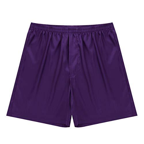 Agoky Herren Boxershorts mi Eingriff Satin Shorts Unterwäsche Männer Unterhosen Schlafanzugshose kurz Pants gr. M L XL Violett M
