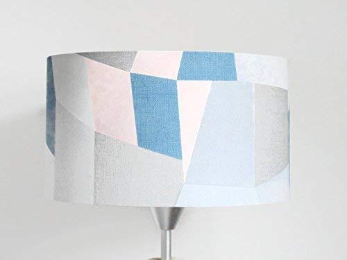 abat-jour géométrique - scandinave - bleu gris rose pastel Luminaire chambre bébé cylindre rond idée cadeau enfant décoration naissance anniversaire fête des mères