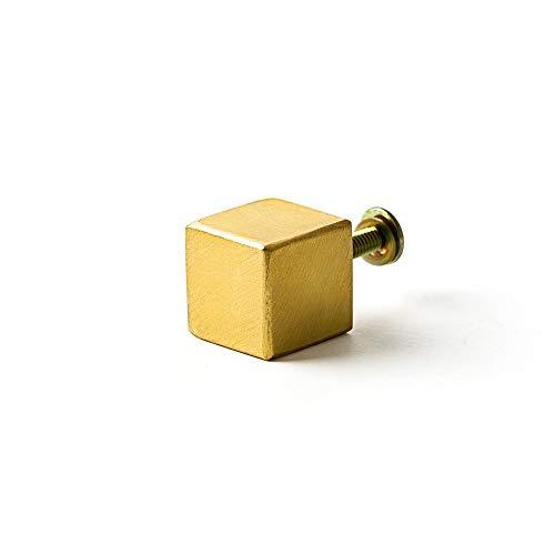 つまみ 真鍮 ノブ 角砂糖17 Sネジセット Z3K アンティーク ゴールド ハンドル 取手 引き出し DIY ブラス