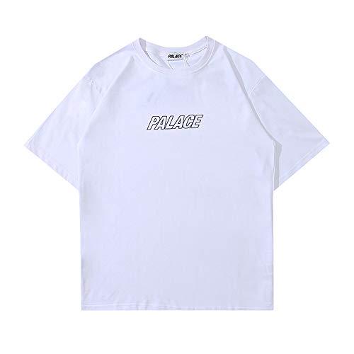 Getijdenmerk Koppels Korte mouw bedrukt in kleur Zomer Mannen en vrouwen Ronde nek Katoenen T-shirt met skateboards
