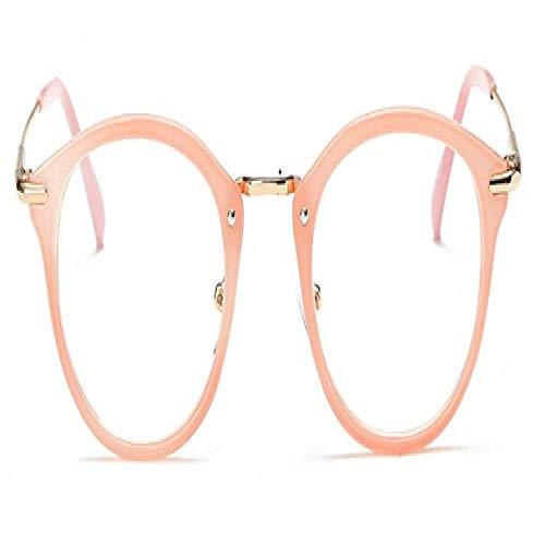 Gafas De Sol Polarizadas Mujer Montura De Gafas para Hombre Montura De Anteojos Vintage Redonda Lente Transparente Montura De Gafas Óptico Rosa