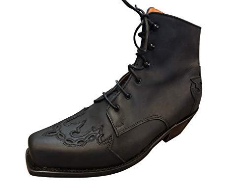 Sendra Cowboystiefel Stiefelette Line Dance Schnürr Stiefel Karee Mod. 16008-2 (40 EU, Schwarz)