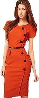 Women Ladies Dress Knee-length Bodycon Slim Pencil Party Dress Plus Size (without Belt) Gg0215 Orange Size L