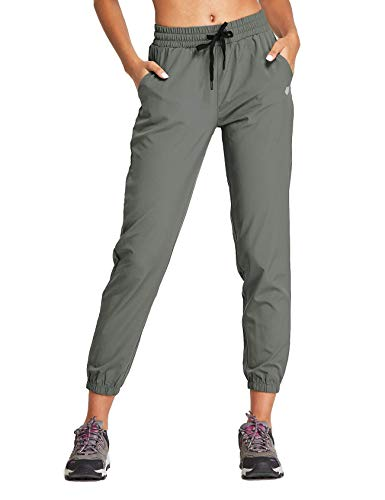 FitsT4 Women's Lightweight Hiking Pants Quick Dry Drawstring Joggers Ankle Pants with Pockets Charcoal Size M