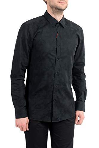 Hugo Hugo Slim-Fit Hemd Elisha aus Baumwolle mit Jacquard- Camouflage Muster schwarz 001 (40)