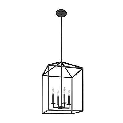Sea Gull Lighting 5115004-839 Perryton Medium Four-Light Hall/Foyer Hanging Modern Fixture, Blacksmith Finish