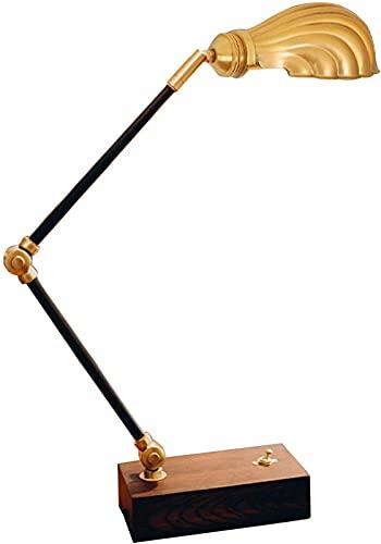 Lámpara de mesa de noche de madera con interruptor, lámpara de lectura industrial retro, pantalla de cobre, lámpara de escritorio de metal con brazo giratorio ajustable para sala de estar Bedro