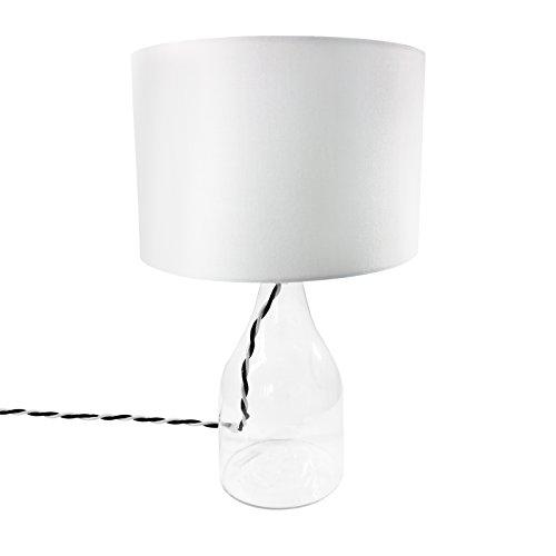Kennwell moderne Tischleuchte Hanna - Tischlampe mit Glasfuss, Weiß