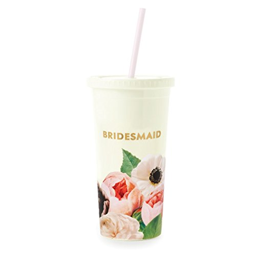 Kate Spade New York Bridesmaids Insulated Plastic Tumbler With Reusable Straw, 20 Ounce Travel Cup, Blushing Floral