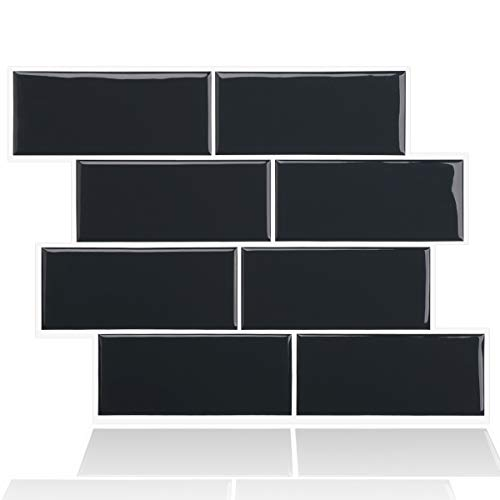 "Kitchen Backsplash Subway Tiles Peel and Stick 11' x 8.4"" Self Adhesive Removable Backsplsah Tiles Stick on Backsplash for Kitchen Bathroom Laundryroom Home (Black, 5-Sheet)"