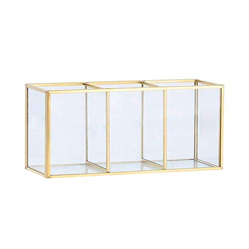Magiin Retro Deco-Schmuck-Kasten Metall Gold Messing Farbe Transparent Glass 3 Compartments - Nordic Stil Vintage-Schmuck Storage Makeup-Schmuck-Kosmetik Tablett Für Kommode, Badezimmer