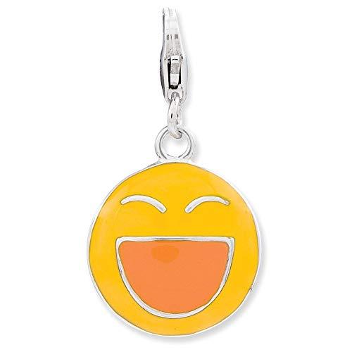 ロブスタークラスプチャーム付き925スターリングシルバーロジウムメッキファンシーロブスタークロージャーエナメル加工3D笑い顔 [並行輸入品]