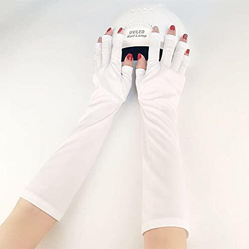 AUMERIT Guantes de protección UV sin dedos para manicura de gel con lámparas UV y LED (color blanco)