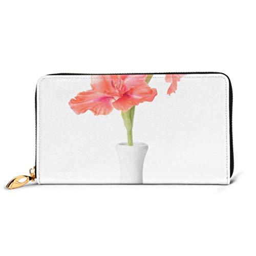 XHYYY Mode Handtasche Reißverschluss Brieftasche Vase Schöne Gladiole Blumen Auf Weiß Telefon Clutch Geldbörse Abend Clutch Blockieren Leder Brieftasche Multi Card Organi