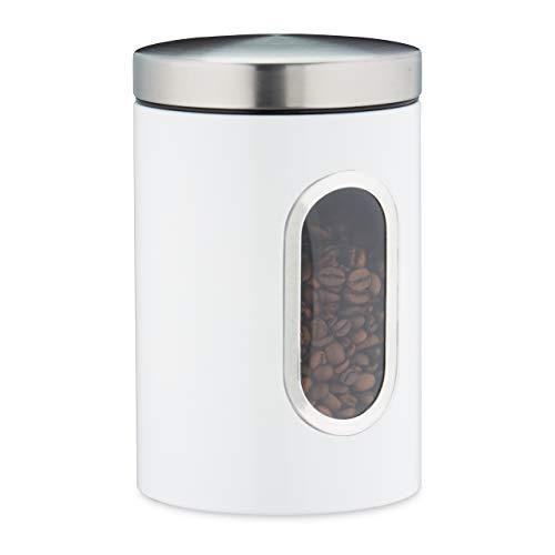 Relaxdays Vorratsdose, mit Deckel & Sichtfenster, 1,4 L, für Kaffee, Mehl, Pasta, Aufbewahrungsdose Küche, Metall, weiß