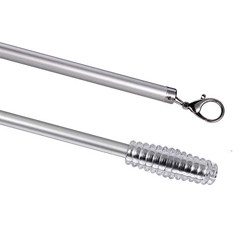 2 Pack Curtain Pull Rod with Metal Snap Push Wand for Drapery and Grommet Curtains 1/2 Inch Wide (Aluminum, 40 Inch)