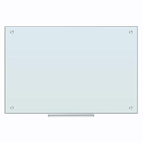 U Brands Glass Dry Erase Board, 35 x 23 Inches, White Frosted Non-Magnetic Surface, Frameless